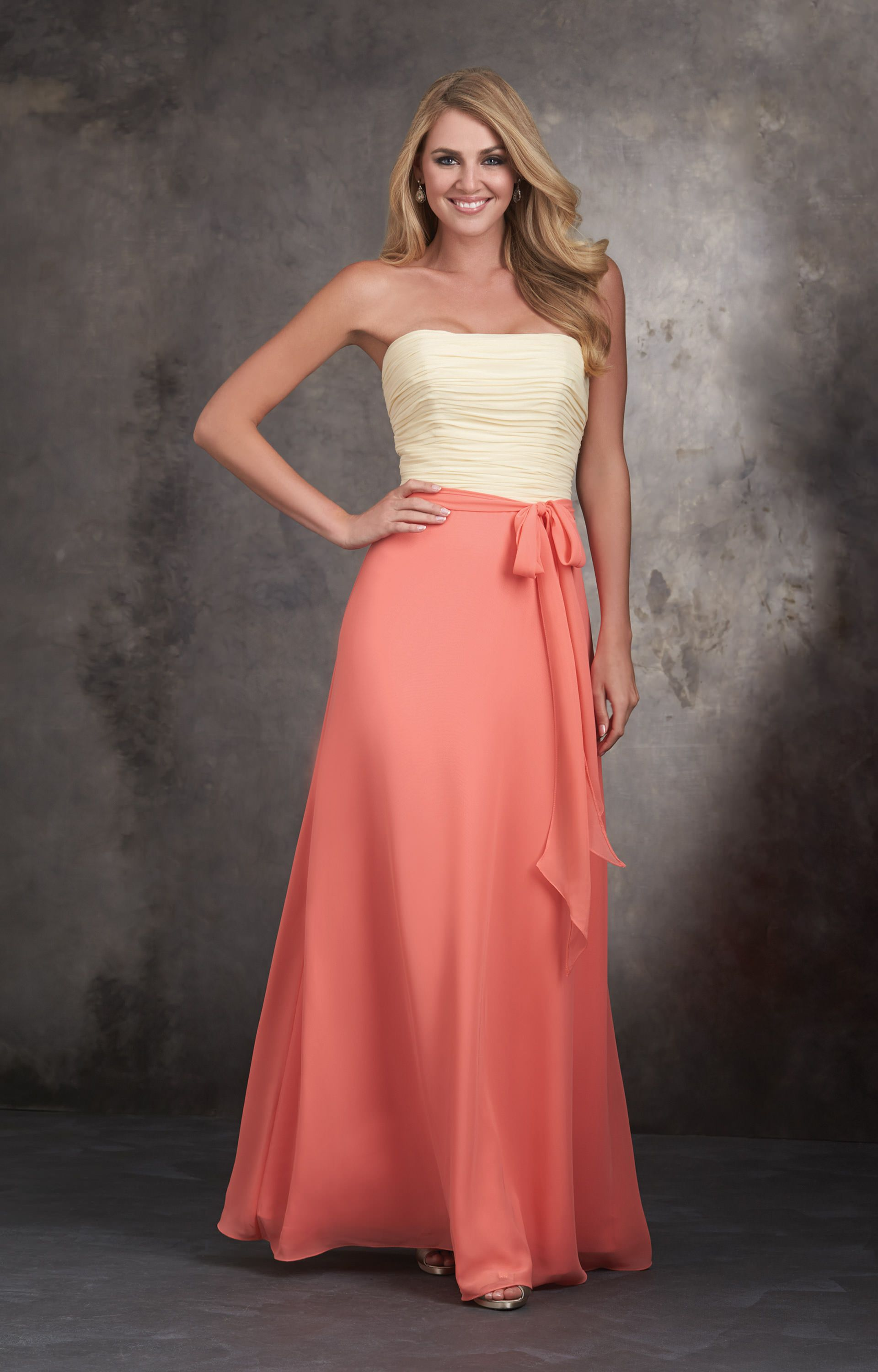Allure Bridesmaids 1403 Strapless Long Two Tone Dress
