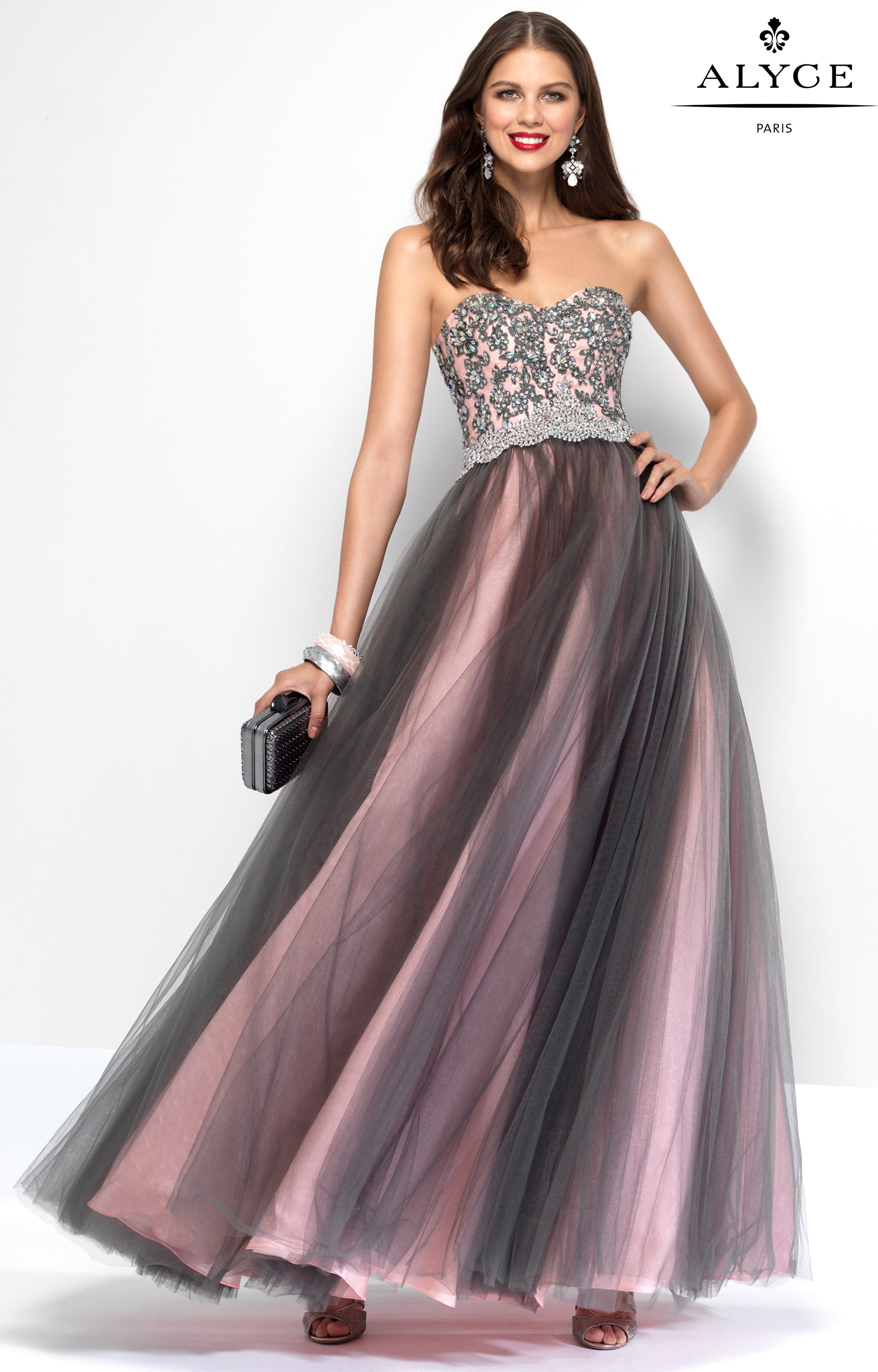 Alyce Paris 6668 - Strapless Two-Toned Ball Gown with Corset Back ...