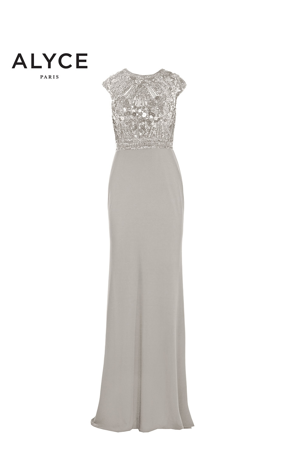 Alyce Paris 27176 - Long Jersey with Cap Sleeves and Beaded Bodice ... d6275a382