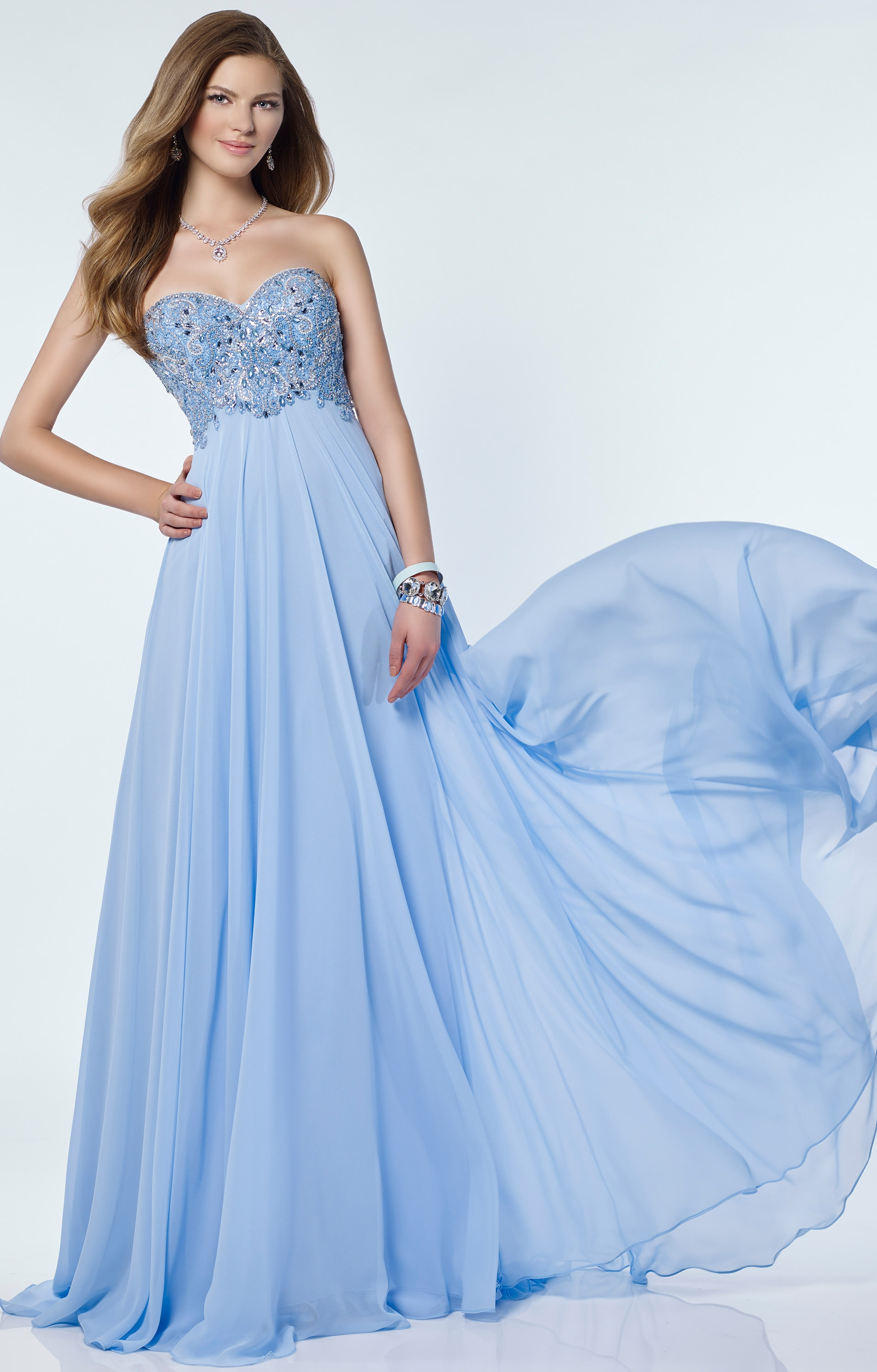d7d02ded94d6 Alyce Paris 6686 - Strapless Chiffon Sweetheart Neckline with Beaded Bodice