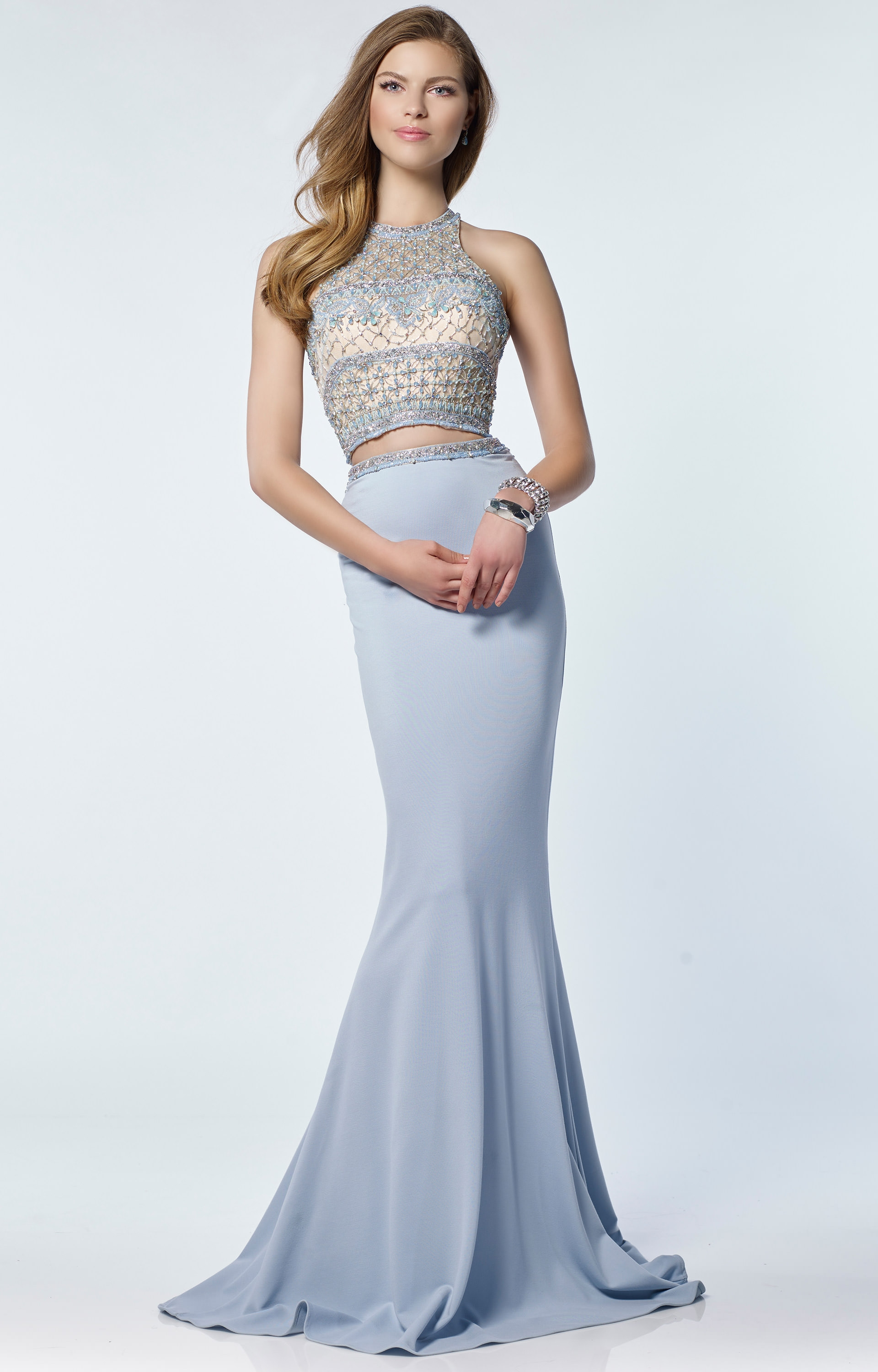 89f9ec36065 Alyce Paris 6712 - Halter Neckline Open Back Fitted 2 Piece Dress Prom Dress