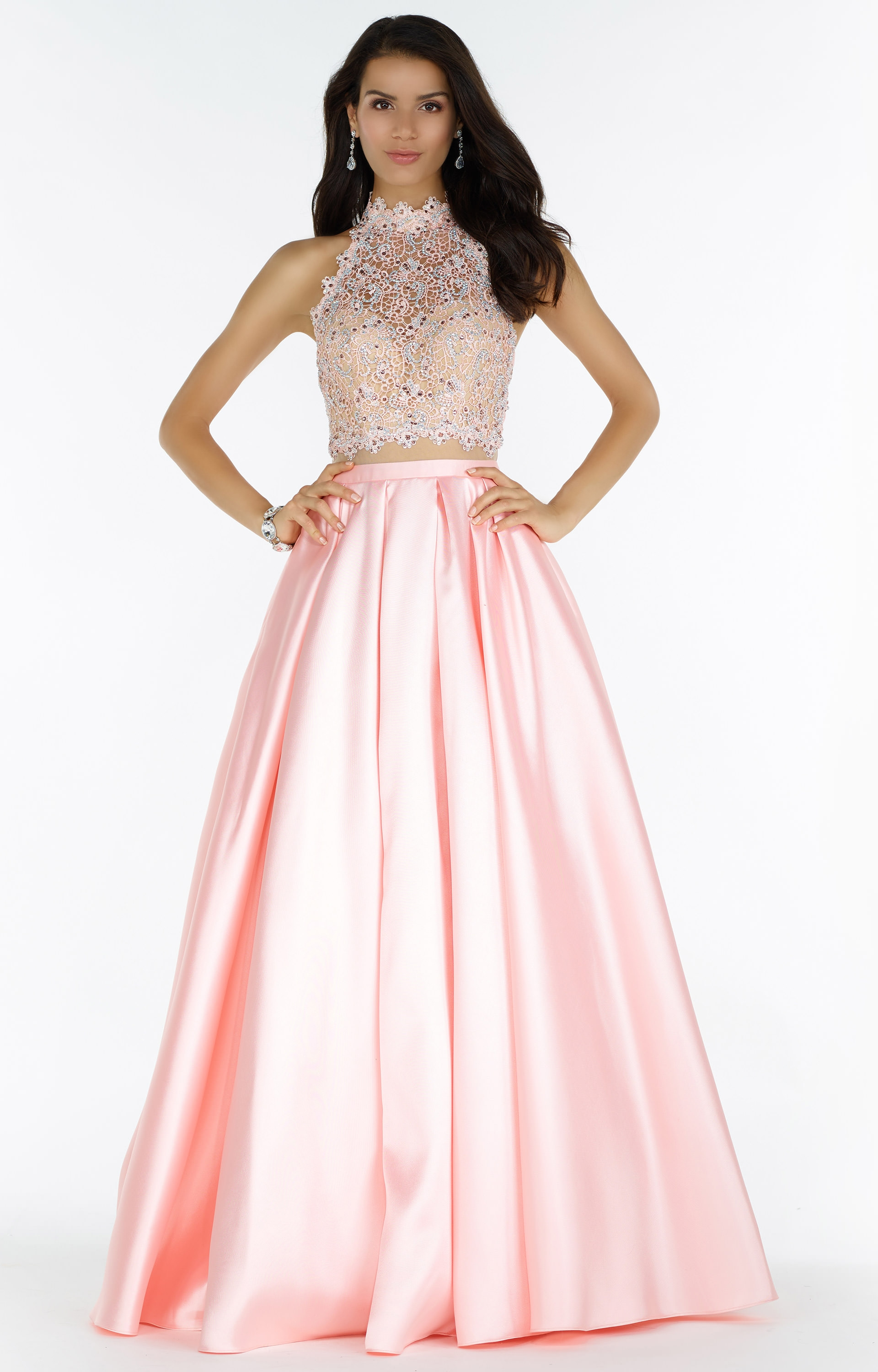 720a18620e3 Alyce Paris 6738 - Two-Piece Sleeveless Mikado Ballgown with Lace ...