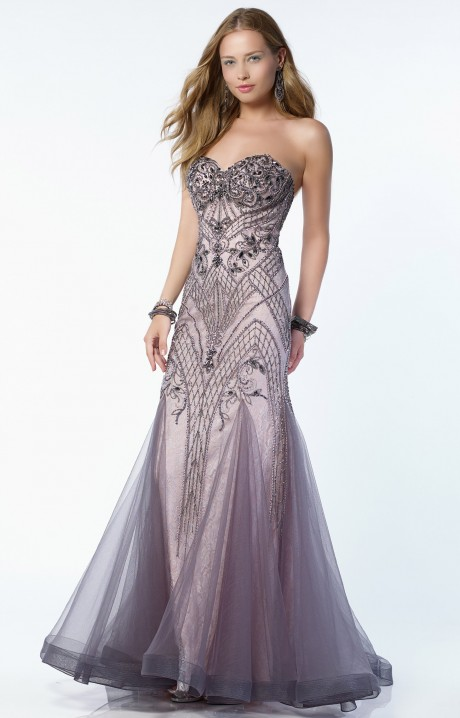 Alyce Paris 6748 - Strapless Sweetheart Lace and Beaded A