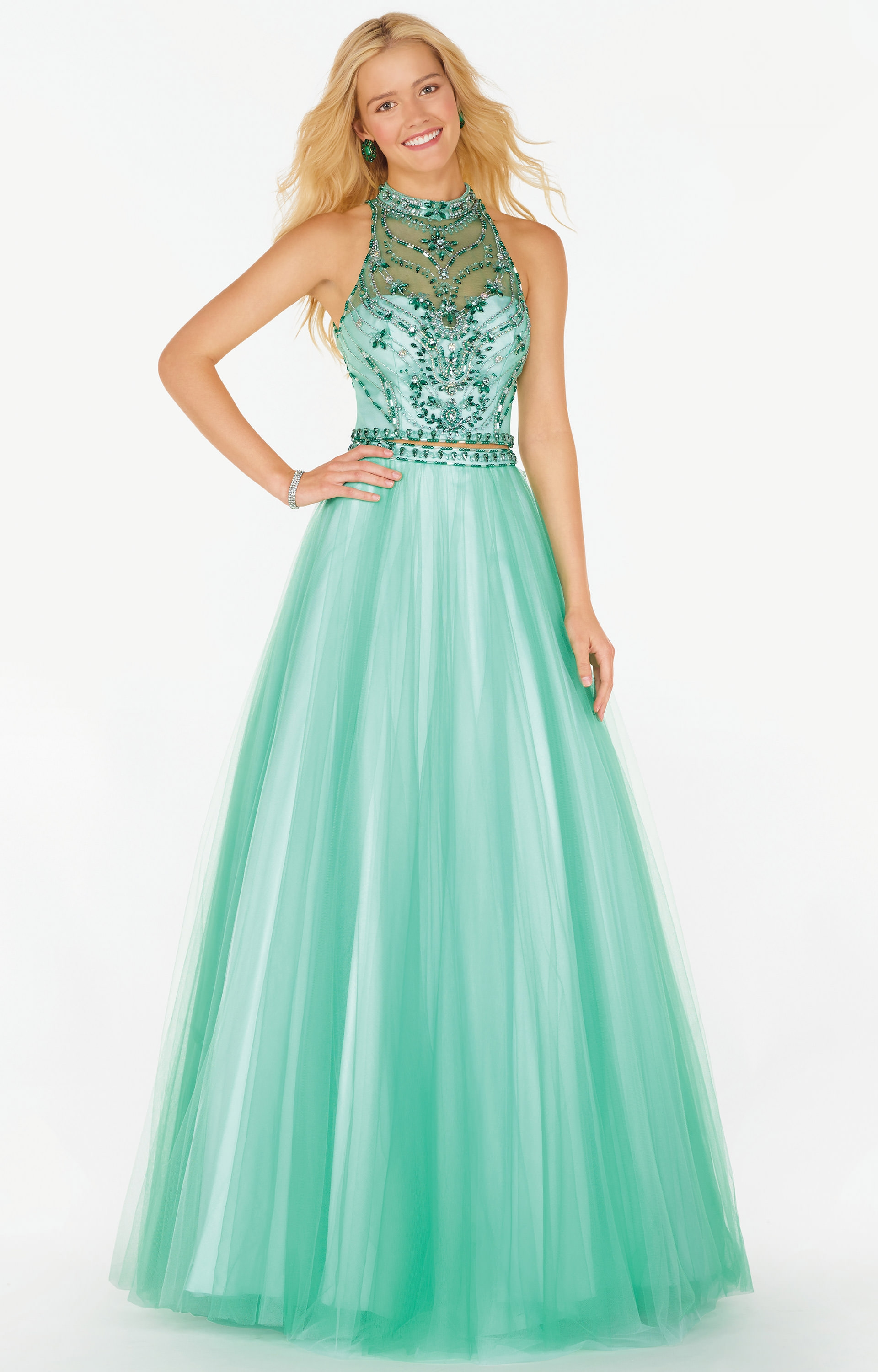 Alyce Paris 6766 - Sleeveless Two-Piece Tulle Ball Gown with Open ...