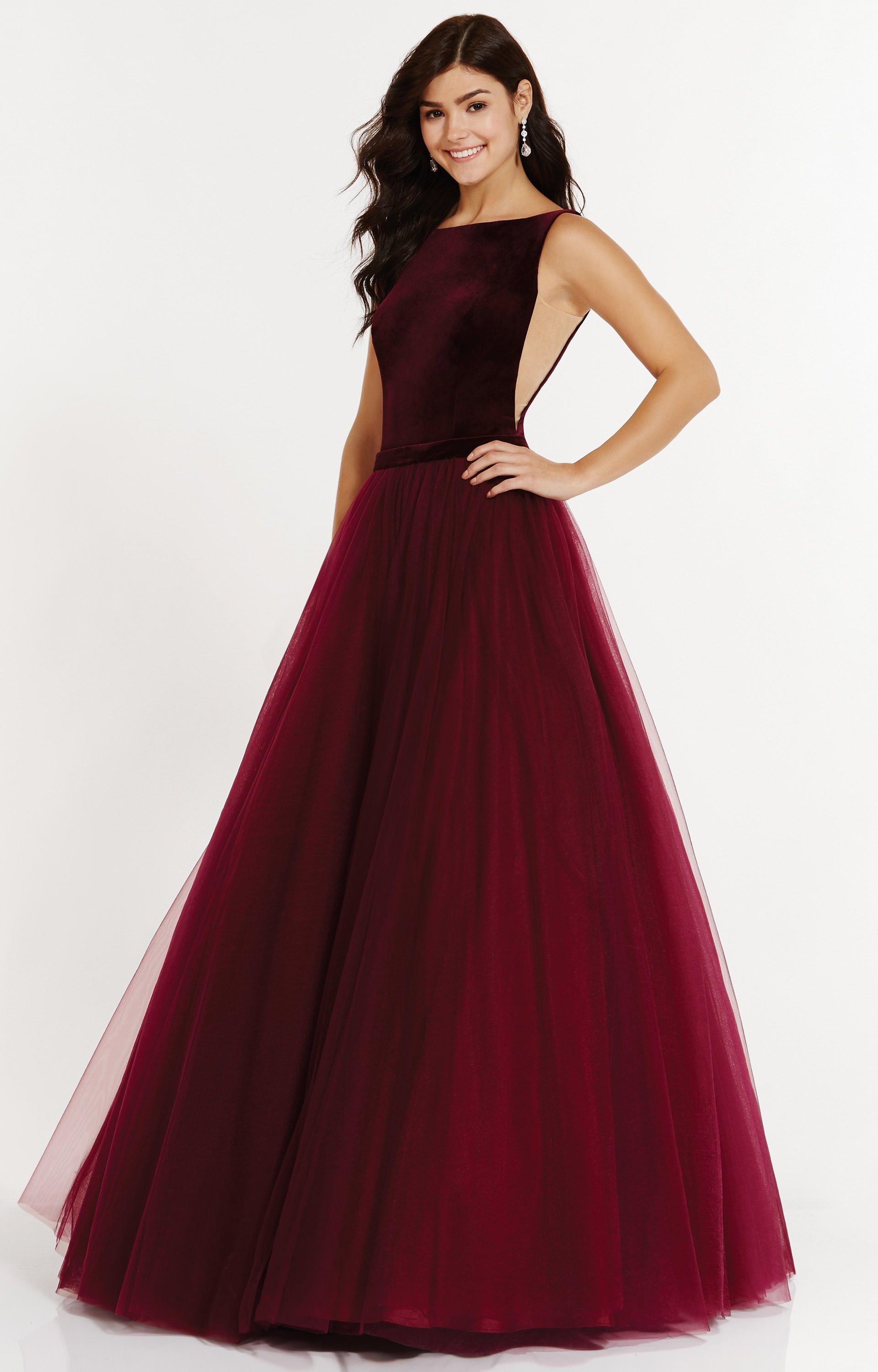 Alyce Paris 6792 High Neck Tulle Ballgown With Velvet