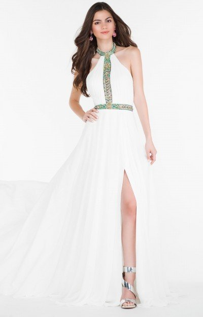 Halter Chiffon Gown with Slight Beading and Open Back