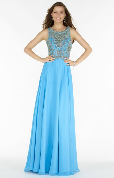 Sleevless Chiffon A-Line with Beading and Open Back