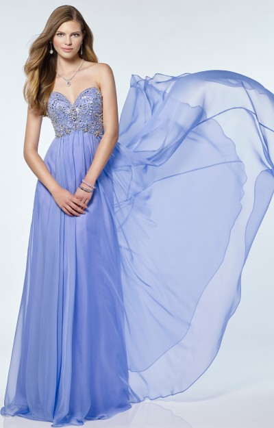 Strapless Sweetheart Chiffon with Beaded Bodice and Zipper Closure