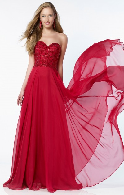 Strapless Sweetheart Neckline Silky Chiffon Skirt with Beaded Bodice