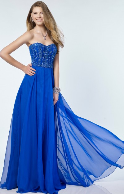 Strapless Sweetheart Chiffon with Beaded Bodice