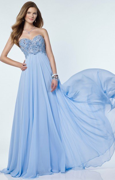 Strapless Chiffon Sweetheart Neckline with Beaded Bodice