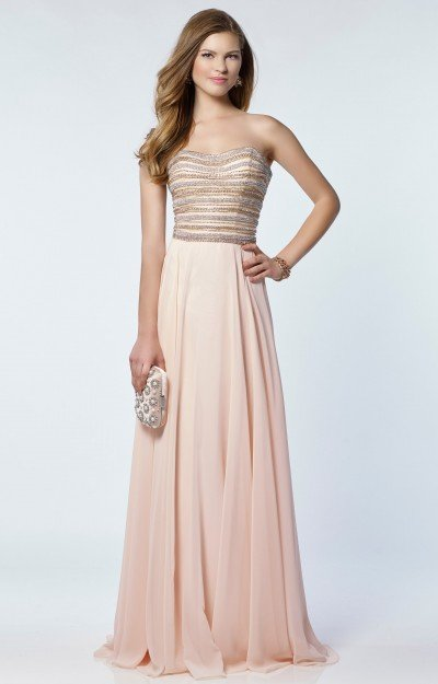 Strapless Sweetheart Beaded Chiffon