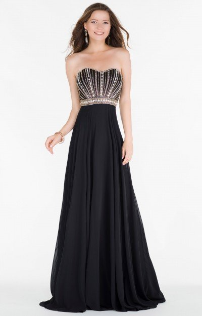 Strapless Beaded Sweetheart Neckline with Chiffon Skirt and Open Back