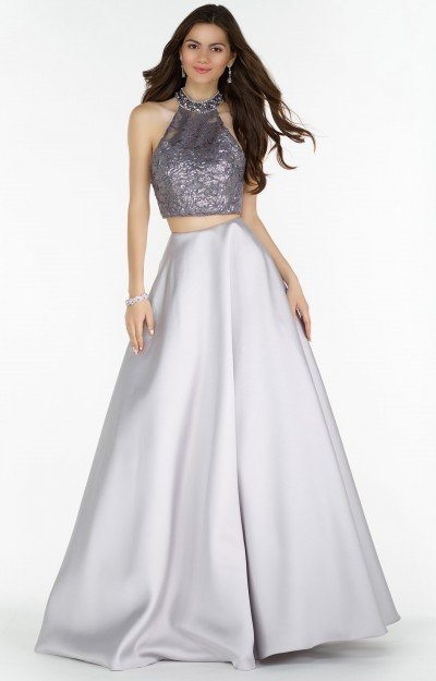 Halter Two-Piece Ball Gown with Sequined Lace Applique and Open Back