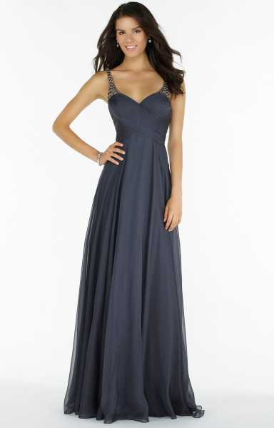 8af6ebb4cd51 Alyce Paris 8023 - Beaded Straps on Silky Chiffon with Ruched Bodice ...
