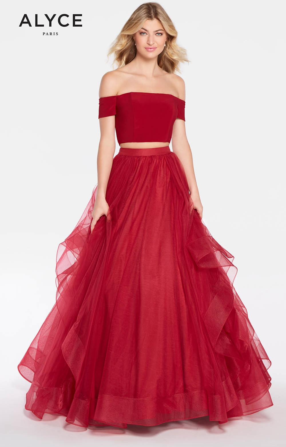 Alyce Paris 1295 Long 2 Piece Tulle Ball Gown Prom Dress