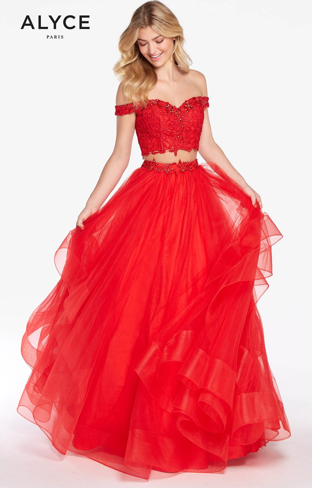 Alyce Paris 1300 - Off the Shoulder Tulle Ball Gown Prom Dress