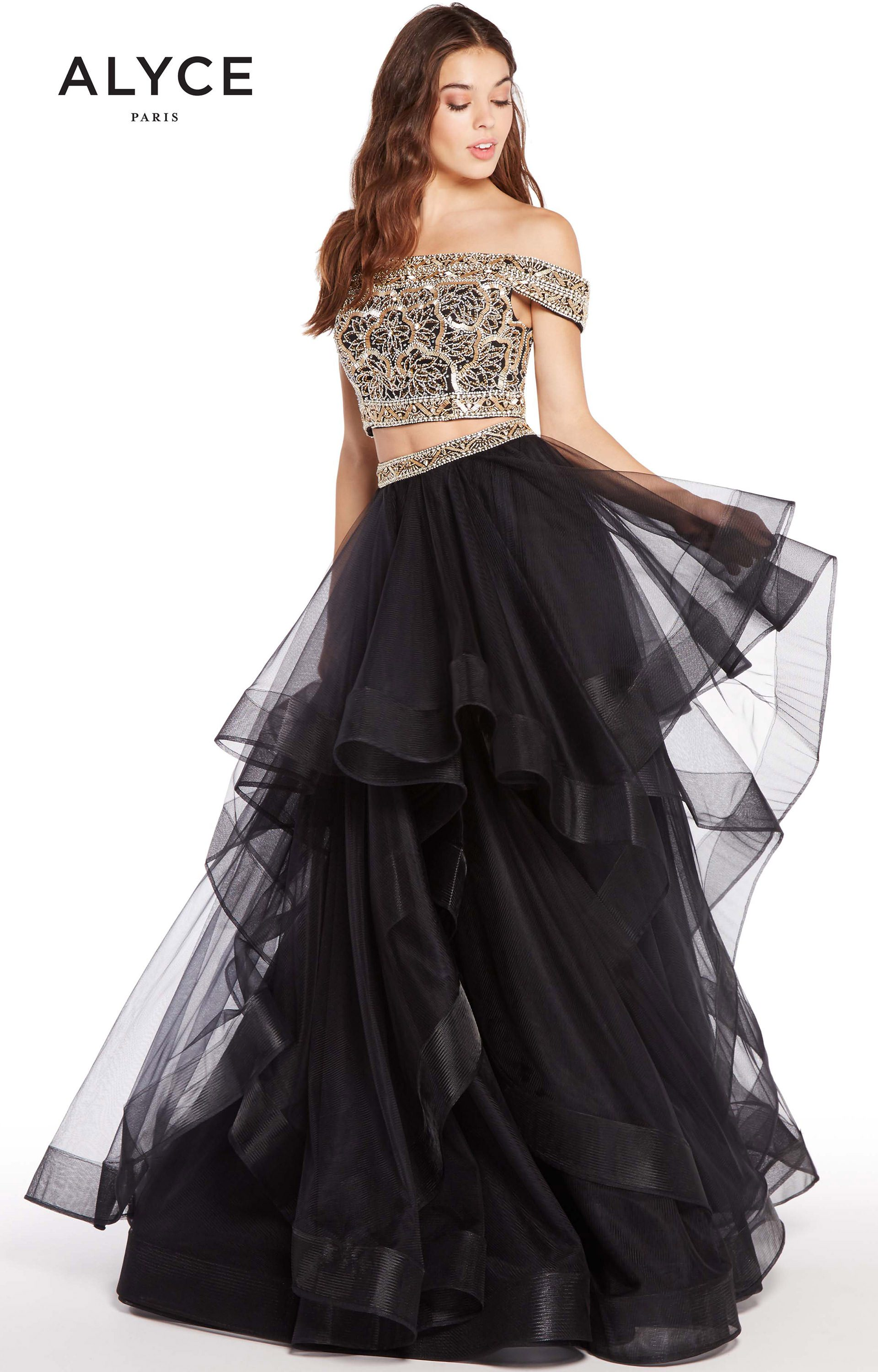 Alyce Paris 60190 - 2 Piece Off the Shoulder Tulle Ball Gown Prom Dress