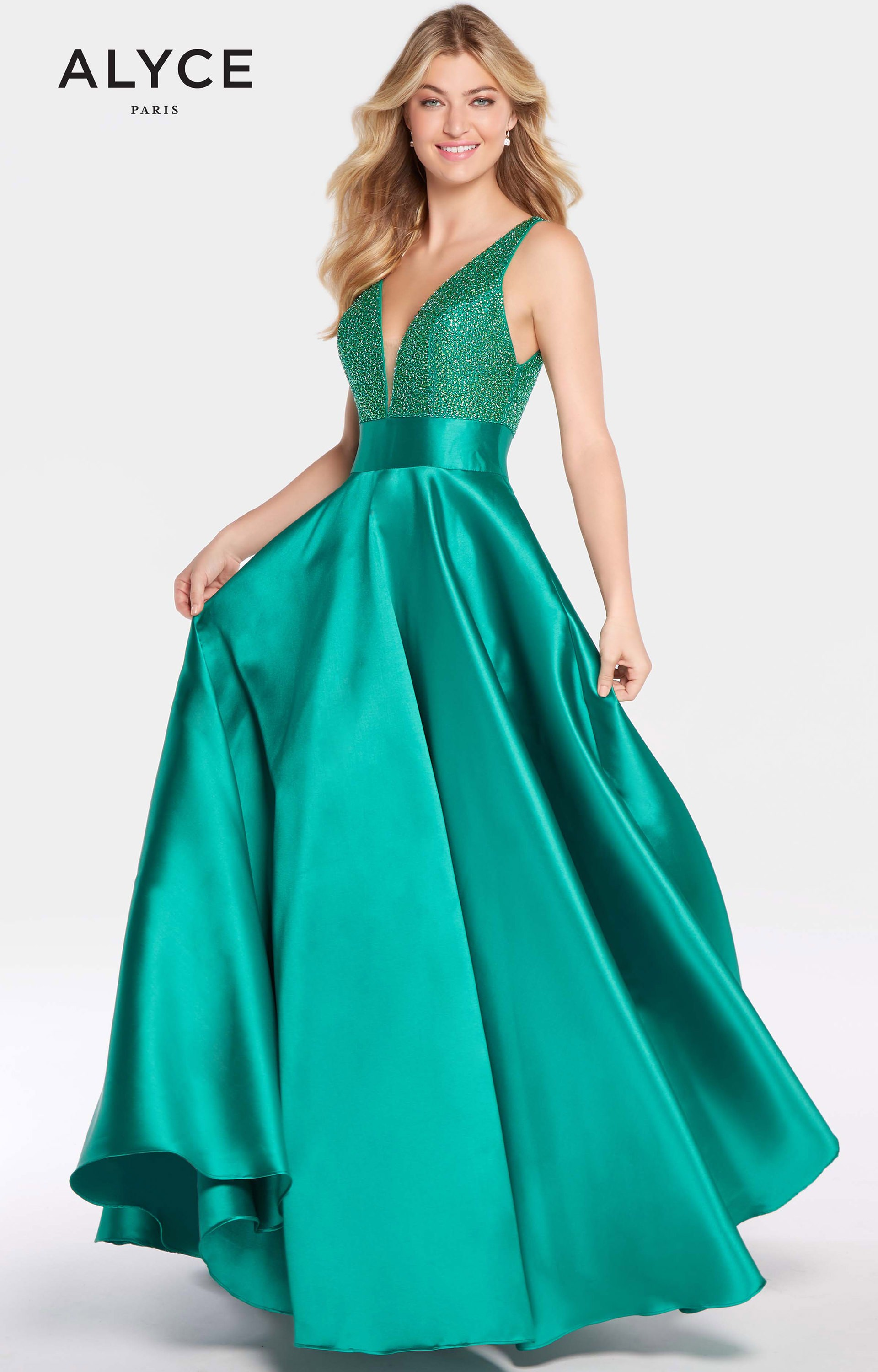 Alyce Paris 60224 - A-line with Beaded Bodice and V-neck Prom Dress