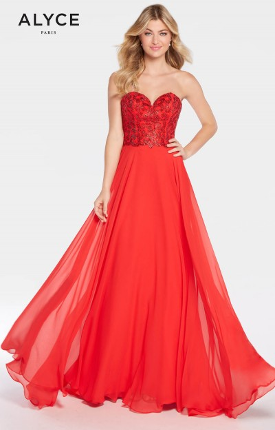 Strapless Long A-Line Chiffon