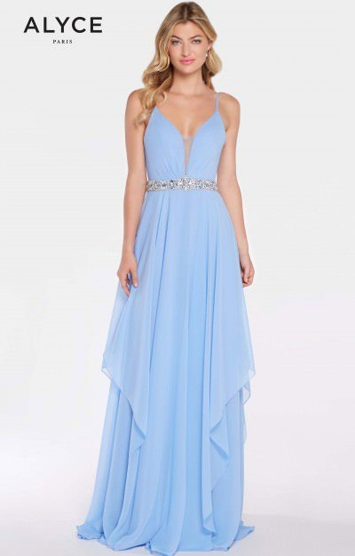 Long A-Line Chiffon V-Neck