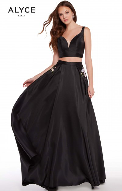 V-Neckline Open Back Simple 2 Piece Ball Gown