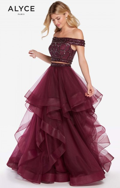 2 Piece Off the Shoulder Tulle Ball Gown