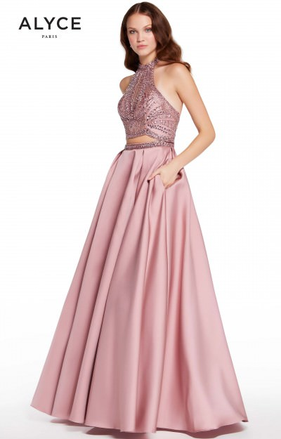 High Neckline 2 Piece Satin Ball Gown