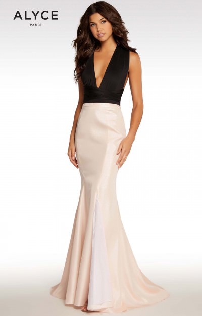 Shimmery Plunging V-Neckline Mermaid Gown