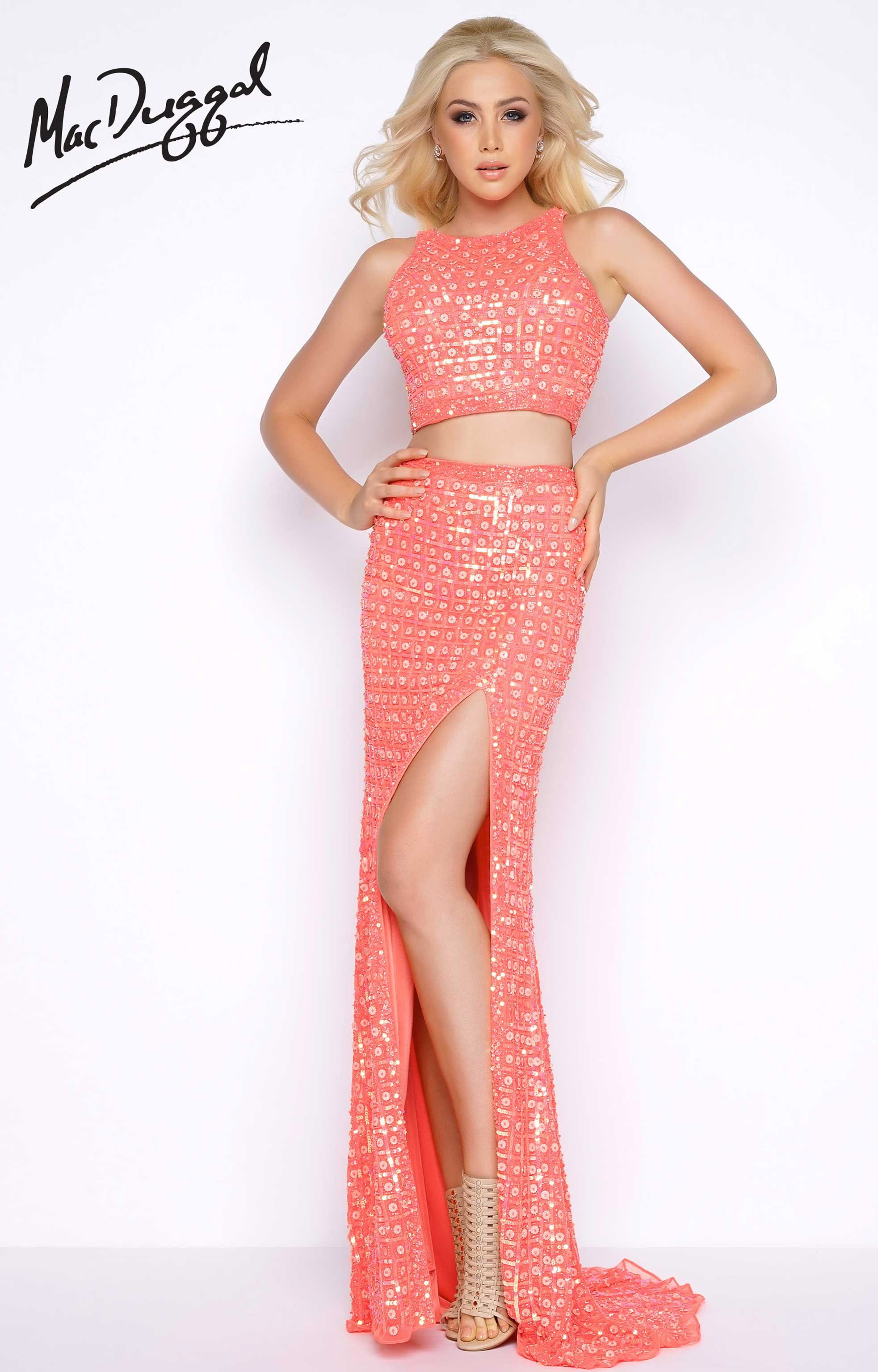 Cassandra Stone 4360A - Two Piece Fitted Sequin Long Dress Prom Dress