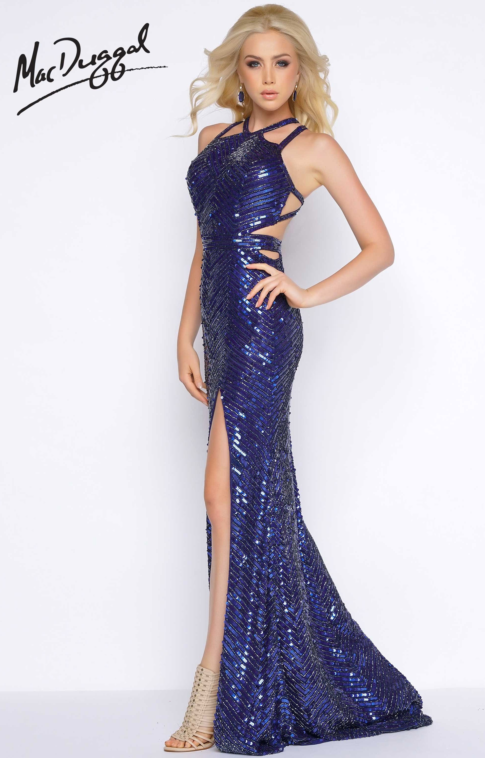 Cassandra Stone 4509a Open Back Strapy Sequin Long Dress