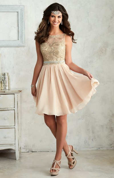 96cfd19e87b17 Damas 52401. Halter Laced Top With Corset Back Chiffon Short Dress $150.00
