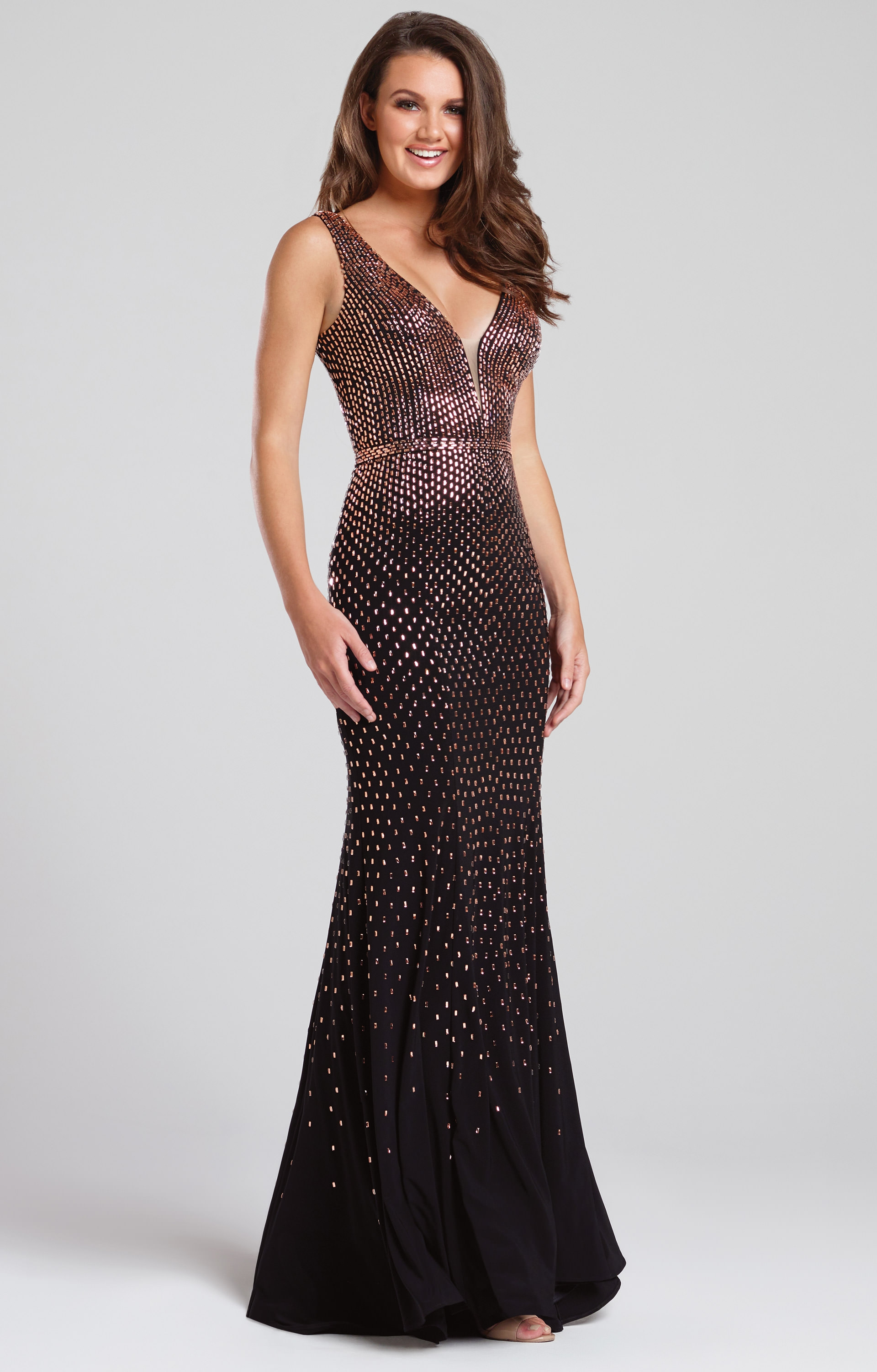 Ellie Wilde Ew117111 Stoned In Bronze Fitted Dress Prom