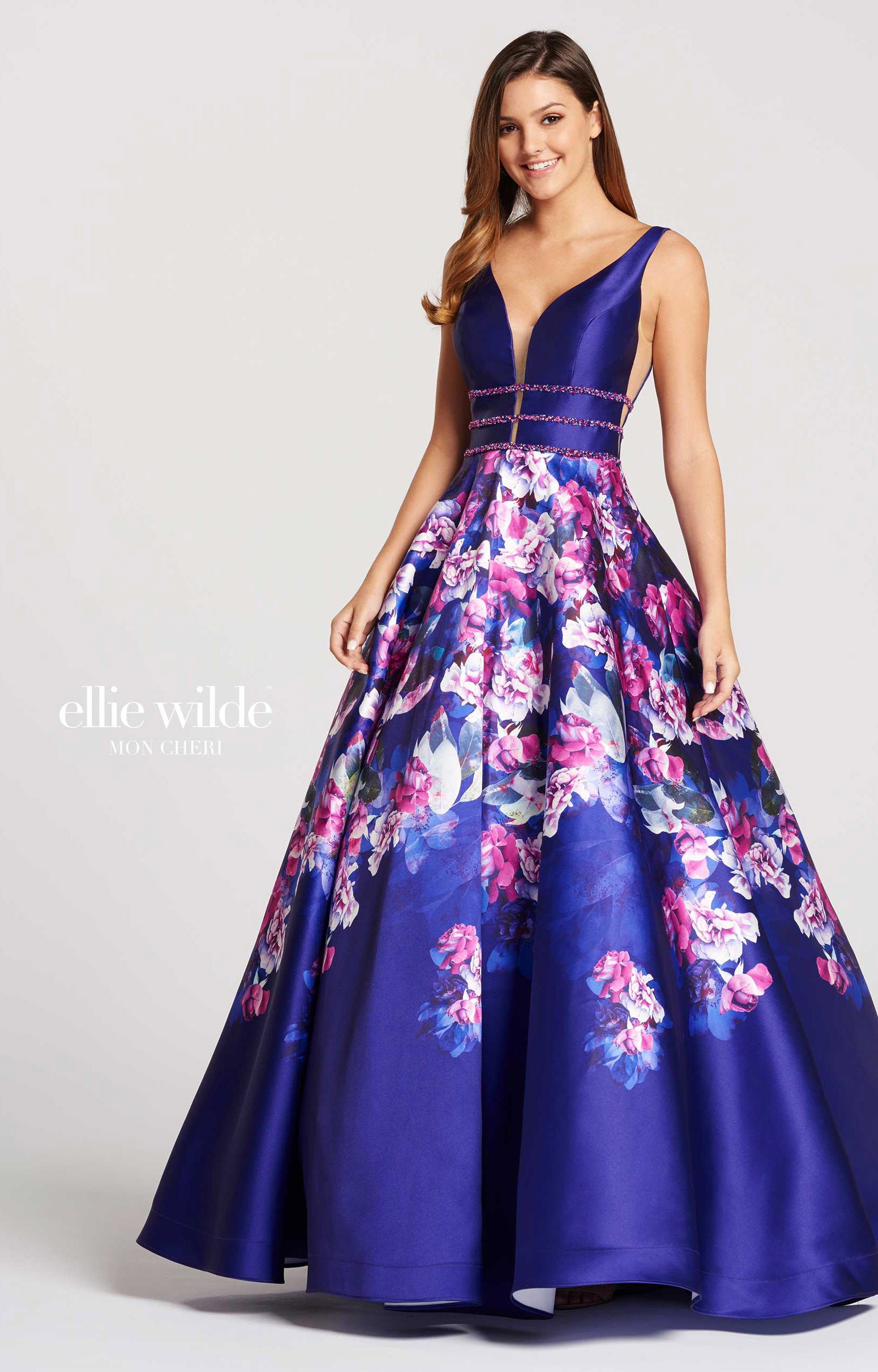ellie wilde ew118006 aline printed mikado vneck prom dress