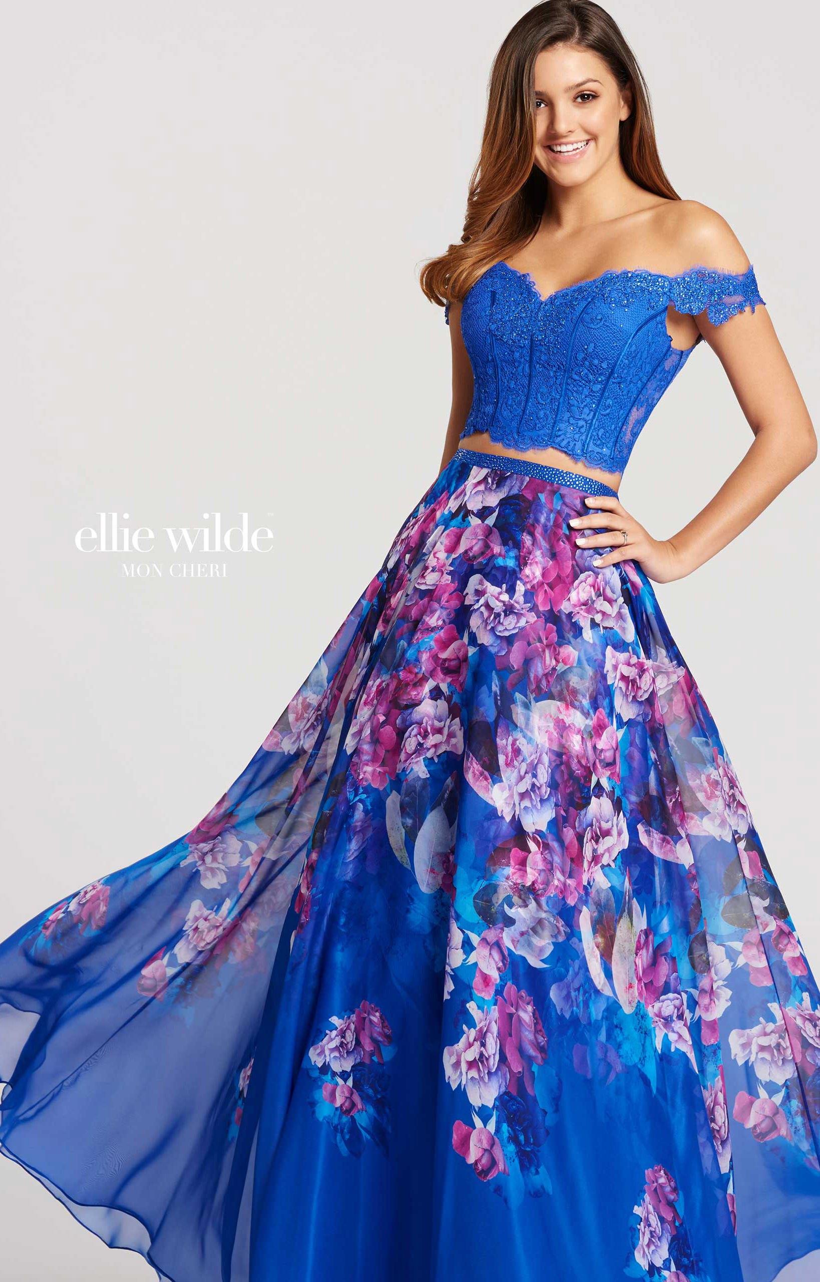 Ellie Wilde Ew118013 Off The Shoulder 2 Piece Floral