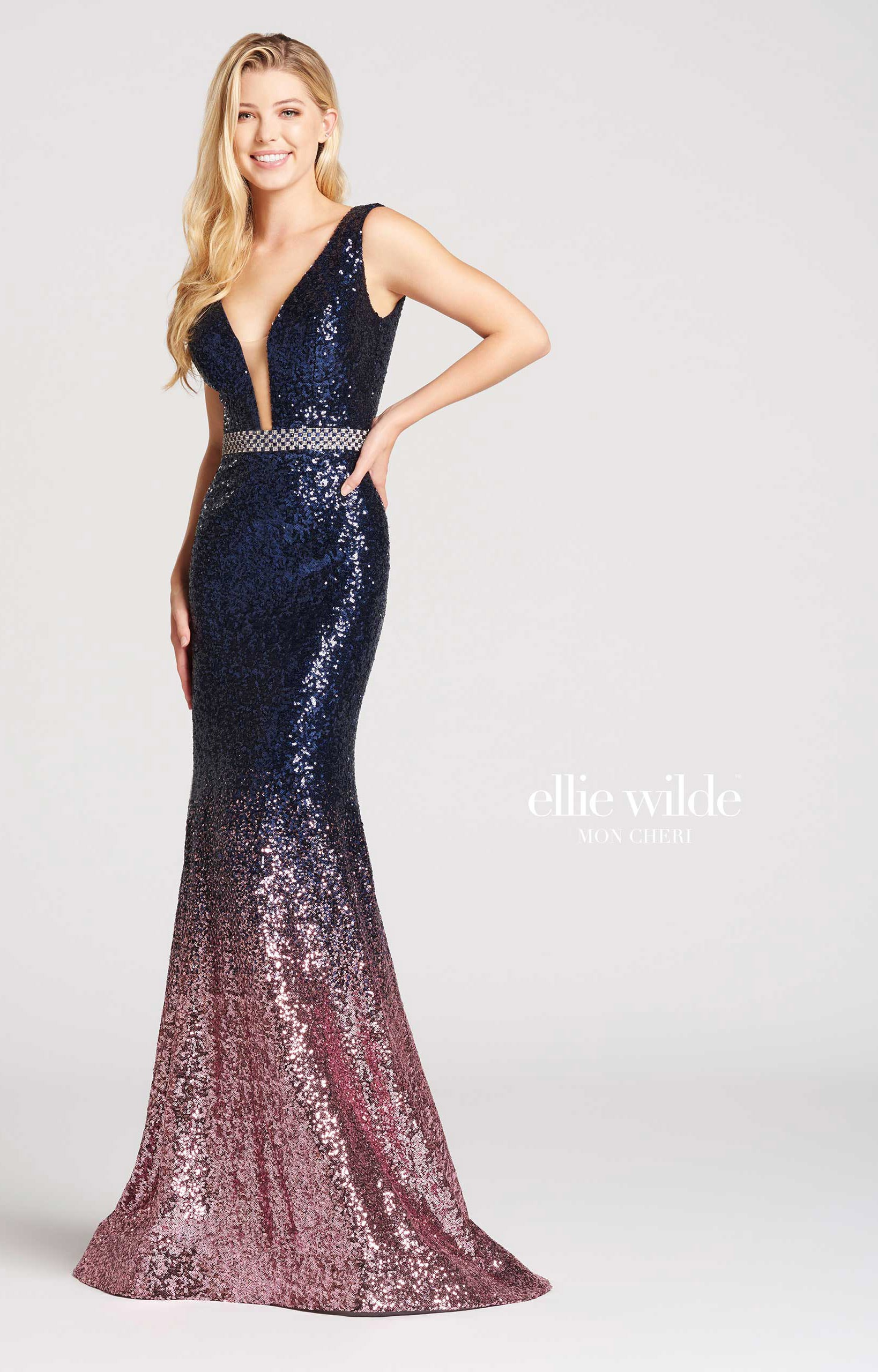 Ellie Wilde Ew118047 Ombre Sequin V Neck Gown Prom Dress