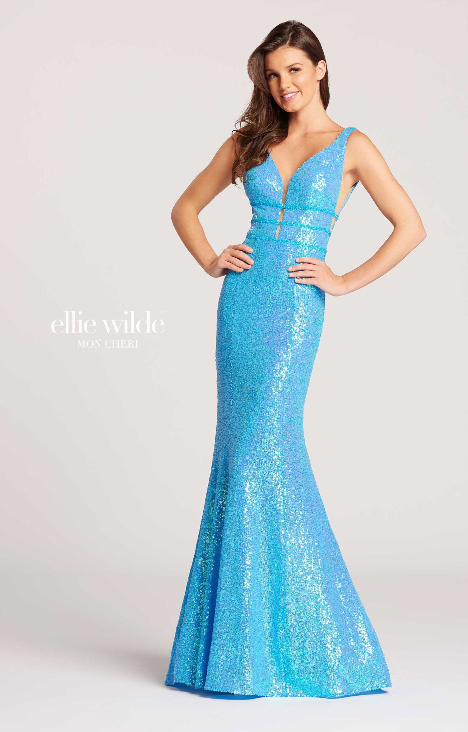 Ellie Wilde EW118096 - V-Neck Fitted Sequins Prom Dress