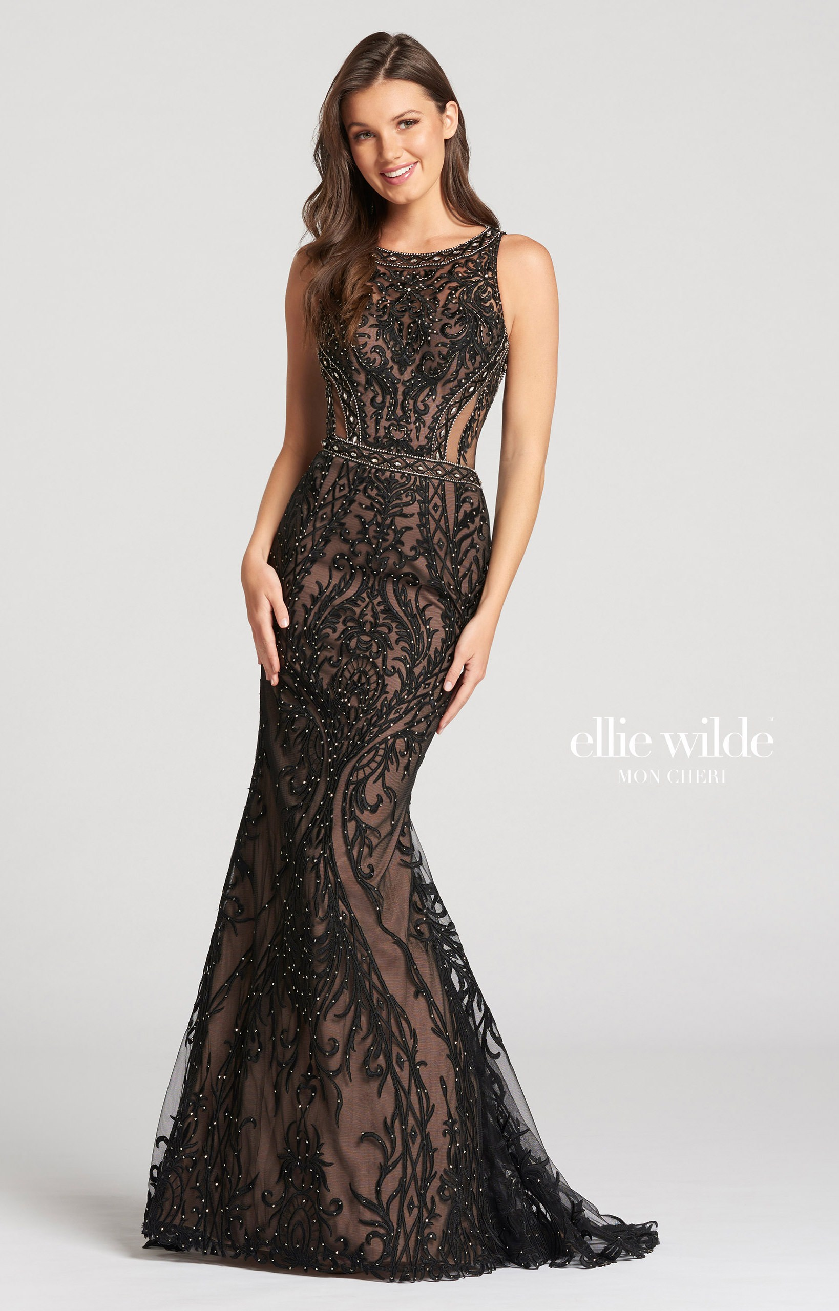 Ellie Wilde Ew118134 Long Fitted Lace Prom Dress