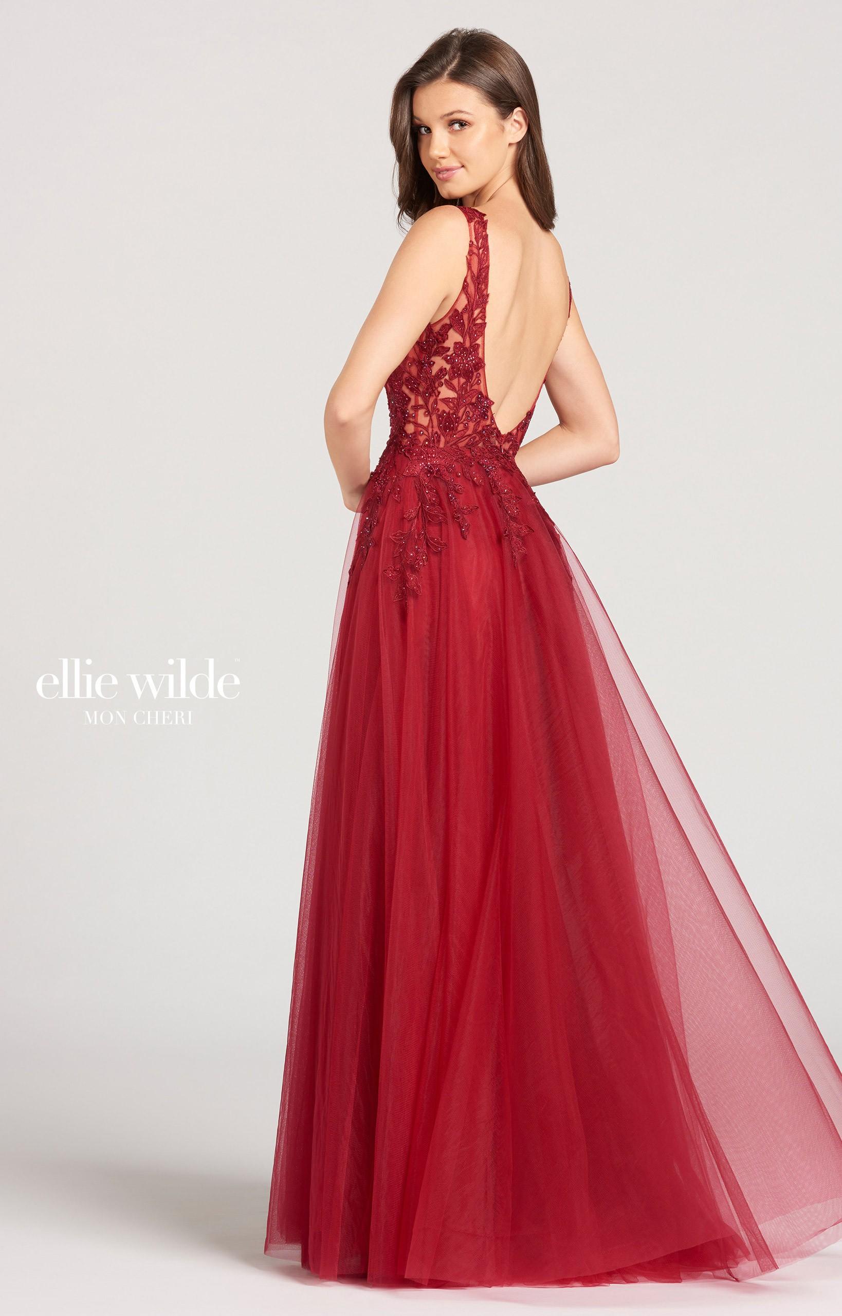 Ellie Wilde Ew118139 V Neckline High Slit Tulle Evening