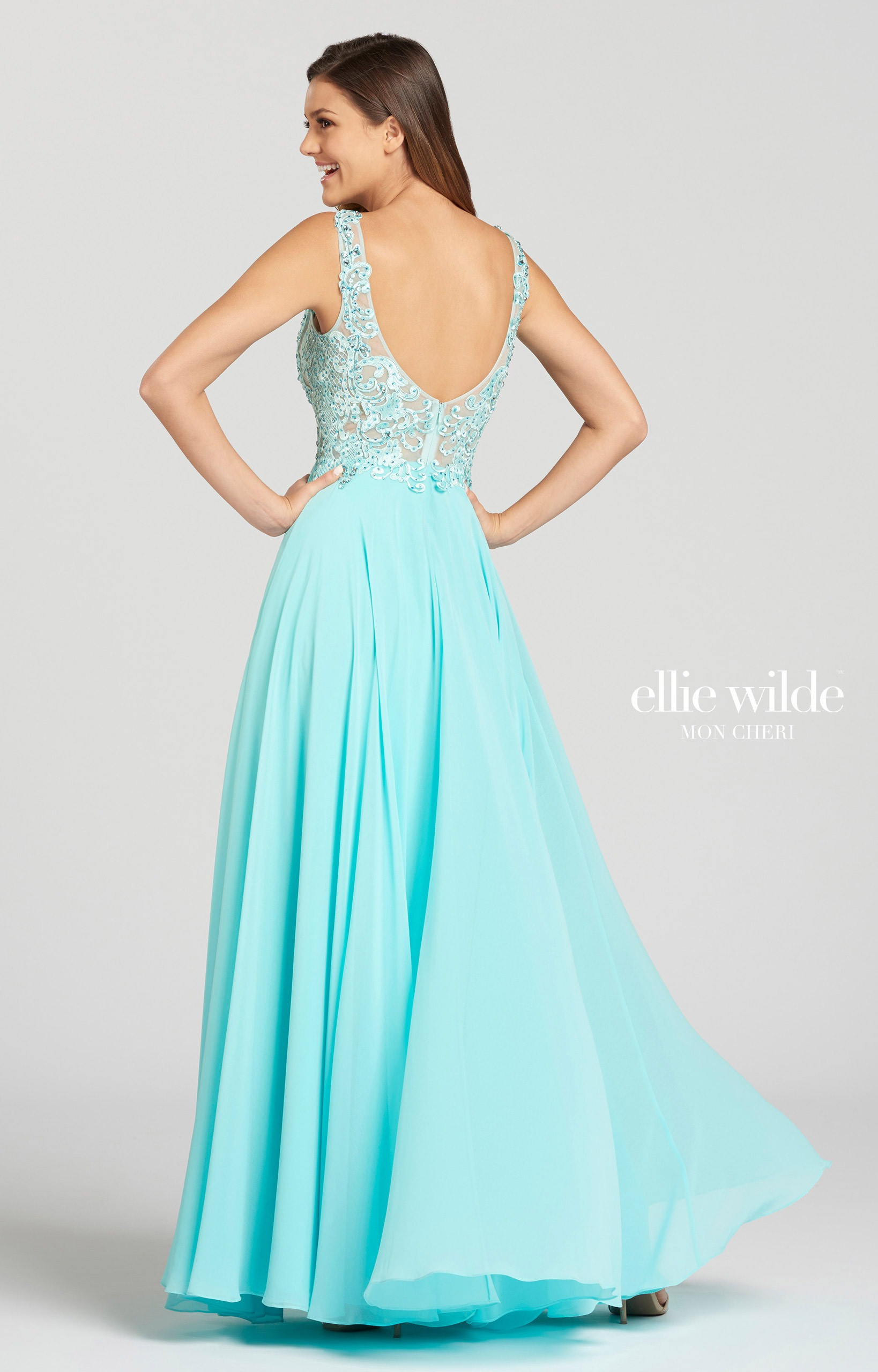 Ellie Wilde EW118150 - Long A-Line Chiffon Prom Dress