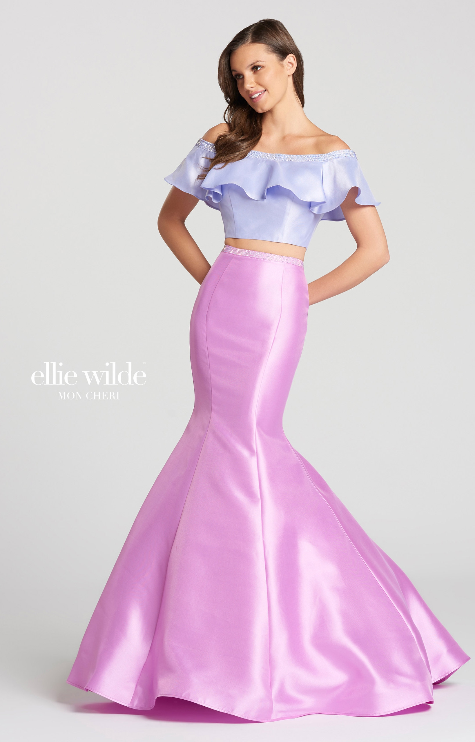 Ellie Wilde EW118162 - Long 2 Piece Mikado Mermaid Prom Dress