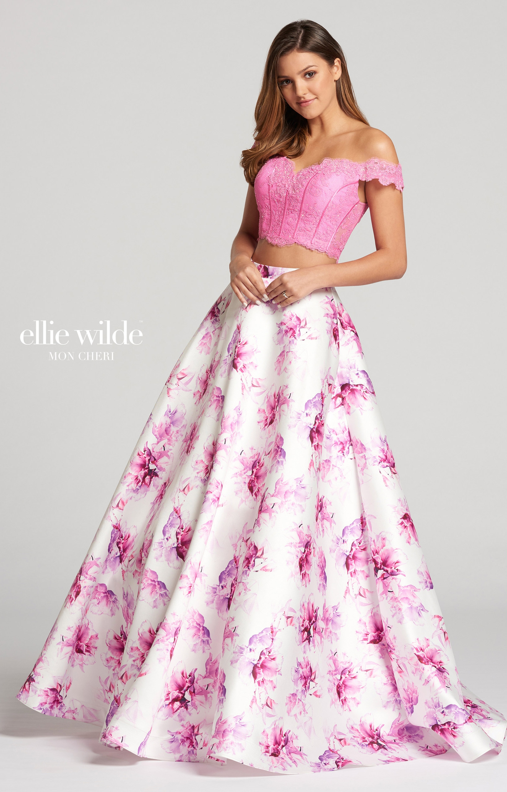 Ellie Wilde EW118178 - 2 Piece Floral Printed Mikado Ball Gown Prom ...