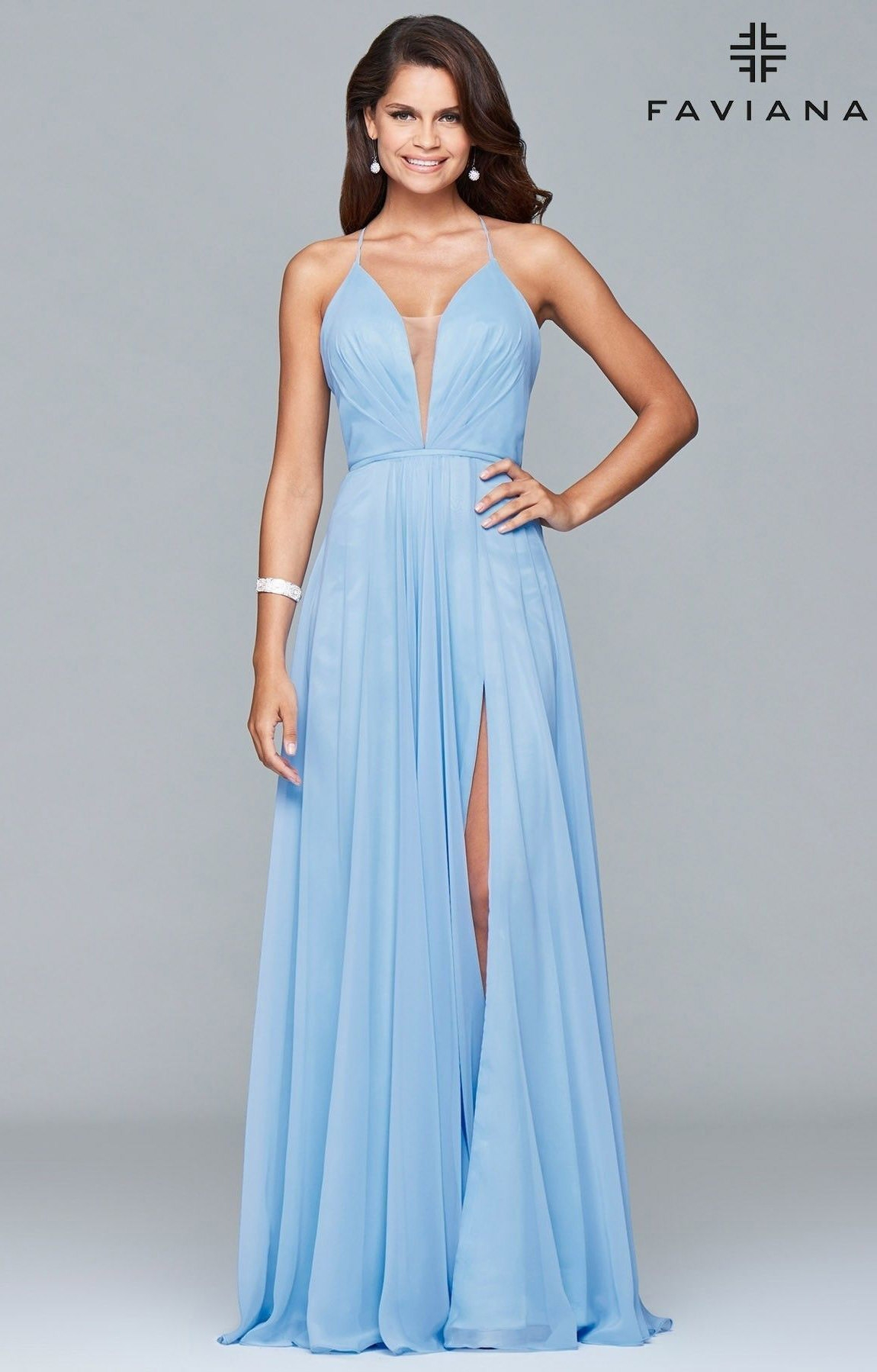 Faviana 7747 - Open Corset Back Dress with Low Neckline Prom Dress