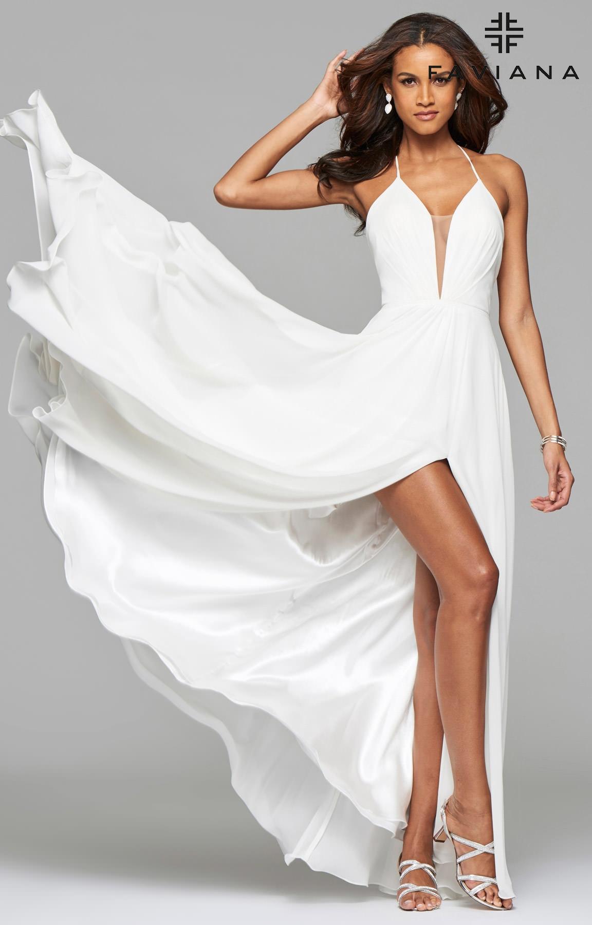 Faviana 7747 - Open Corset Back Dress with Low Neckline Prom Dress