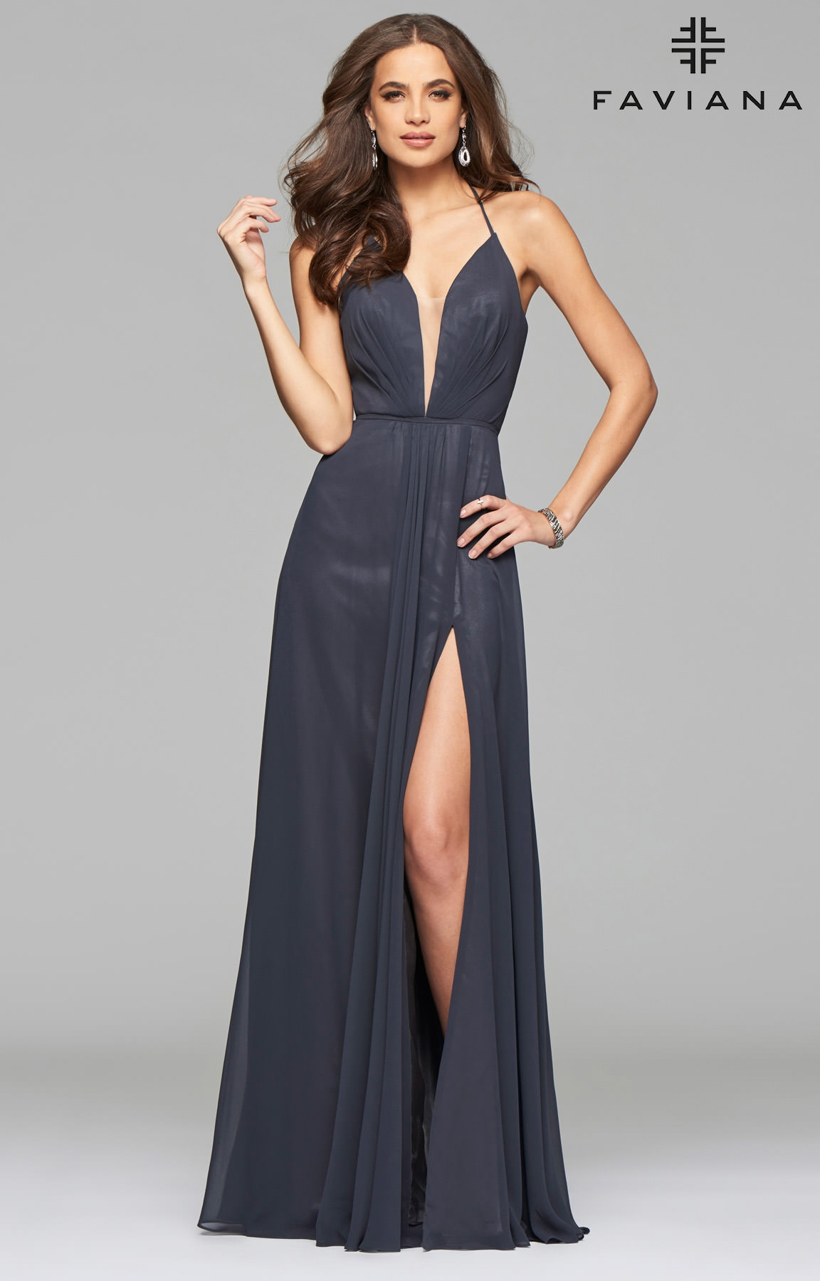 Faviana 7747 Open Corset Back Dress With Low Neckline