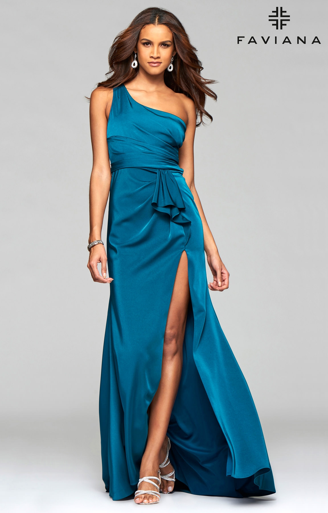Faviana 7892 - One Shoulder Faille Satin with High Slit Prom Dress