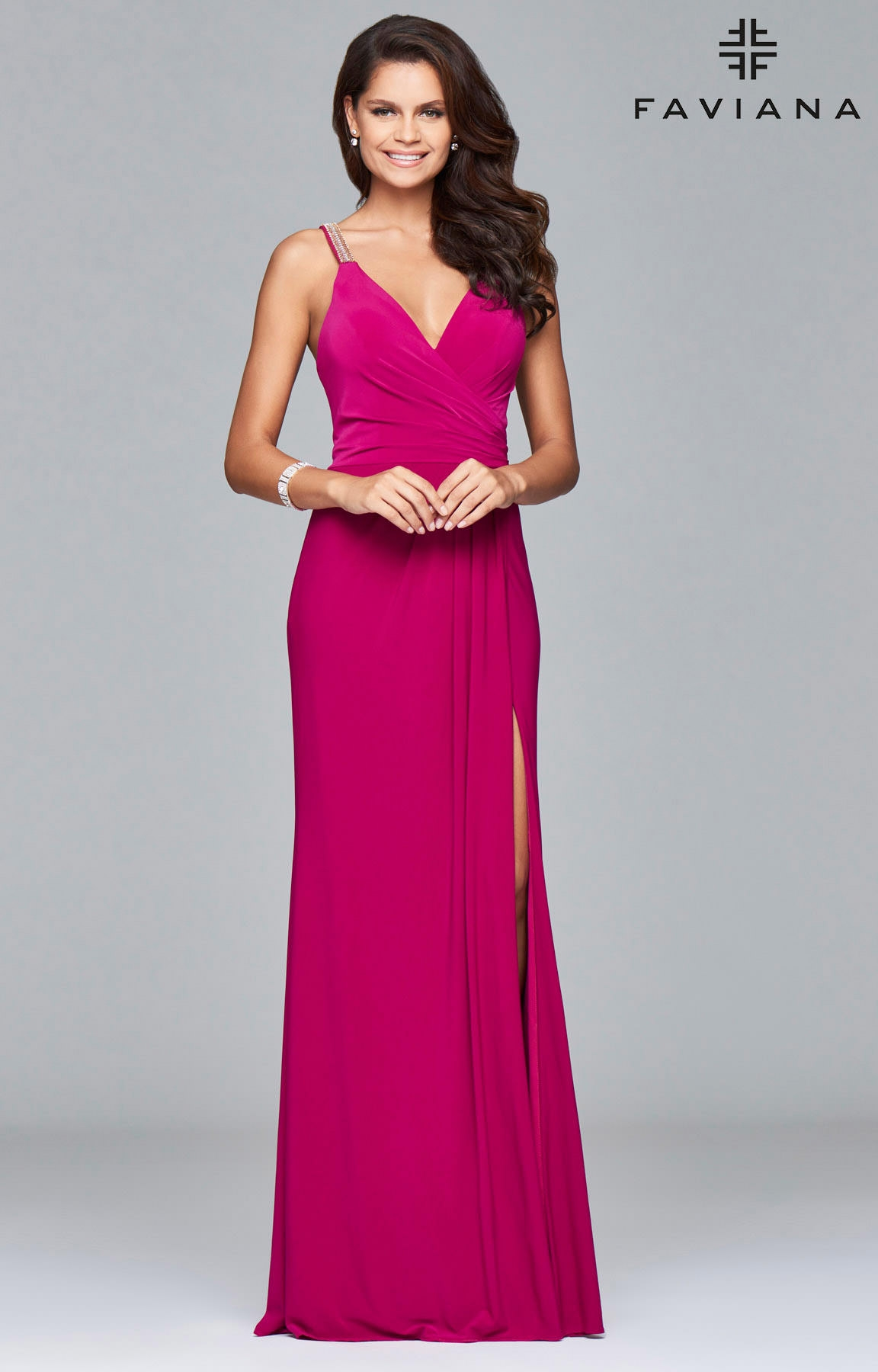 Faviana 7911 - Jersey Mesh with Ruching and Beaded Straps Prom Dress