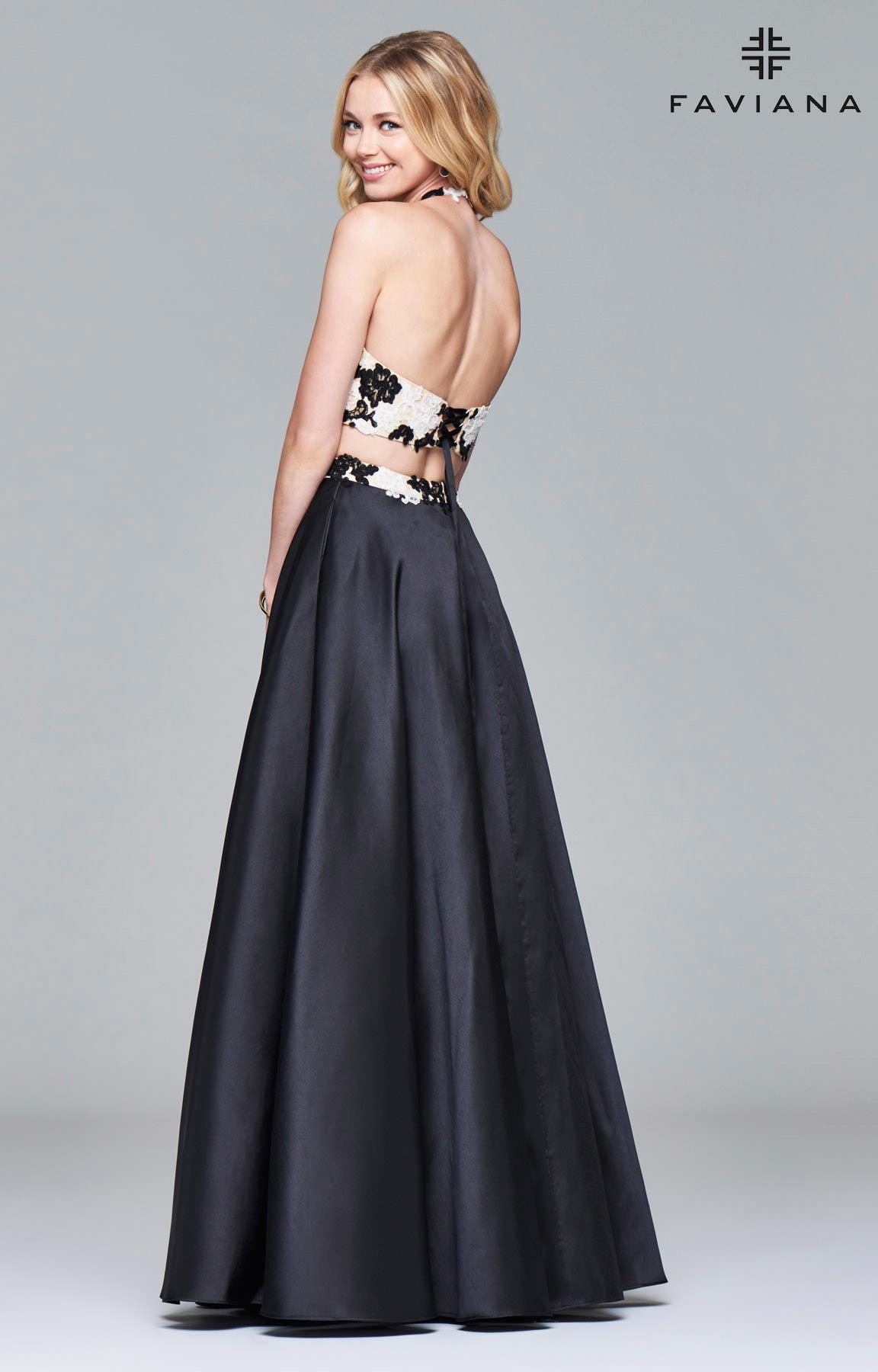 Faviana 7936 Black Ivory Lace Two Piece Prom Dress