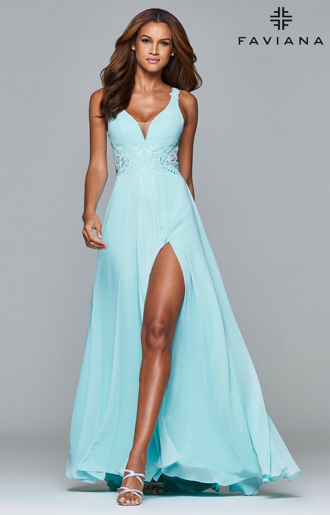 Faviana 7941 - Butterfly Wings Open Back Prom Dress