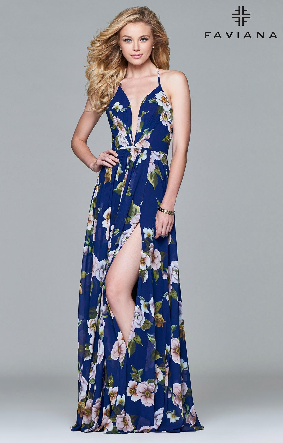 Faviana 7946 Floral Print Traditional Fit Dress Prom Dress
